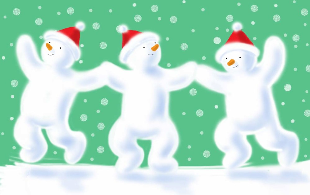 Dancing Snowmen - greeting card