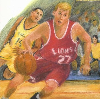 """Interior illustration, """"Hoops"""" published by Rigby"""