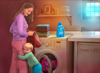 Mother and Child in the Laundry Room