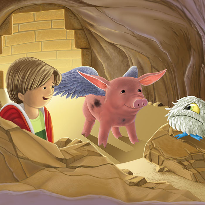 """Cave scene in """"The Flying Pig"""""""