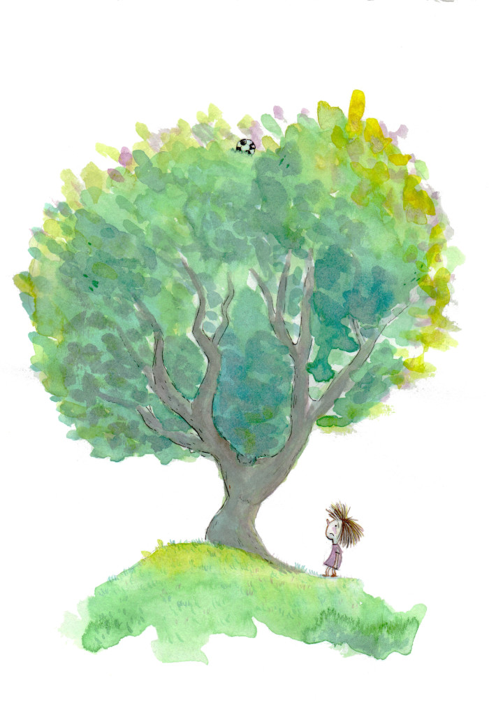 Watercolour illustration, the gild lost the ball in the tree