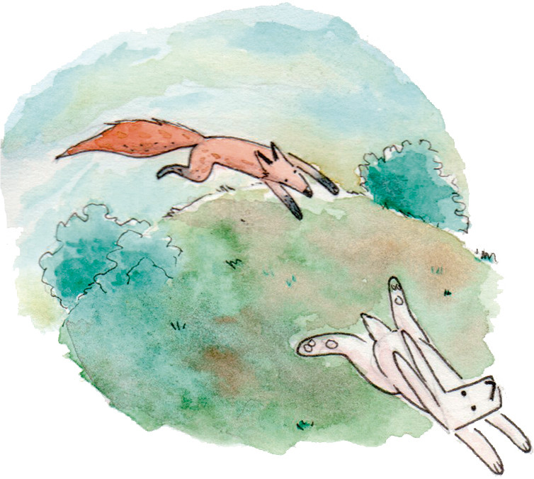 Watercolour, Aquarelle fable. Fox and Rabbit