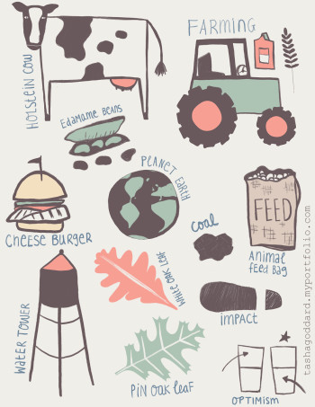 Spot illustrations related to farming and climate change