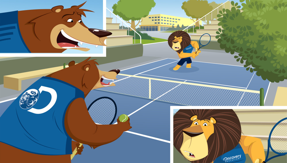 animals playing tennis