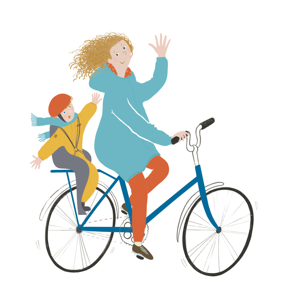 Mom and baby on a bike