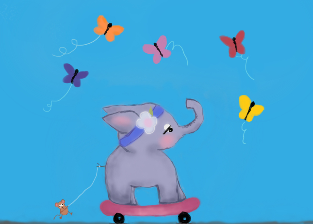 skateboarding elephant and friends