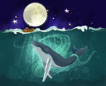 Magical Whale Dancing in the Moon Light