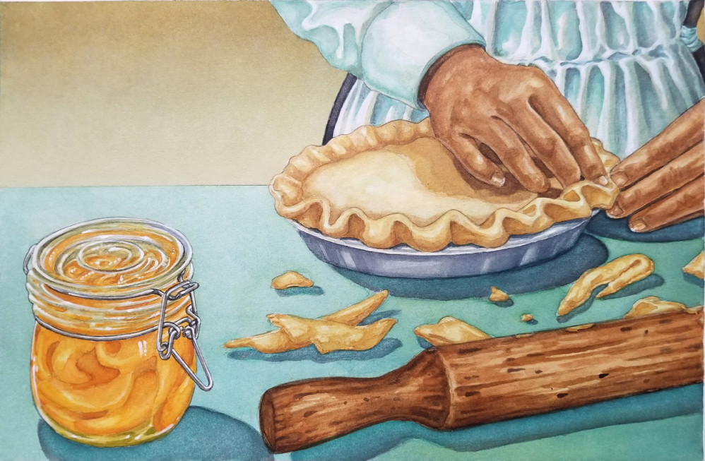 Making a peach pie