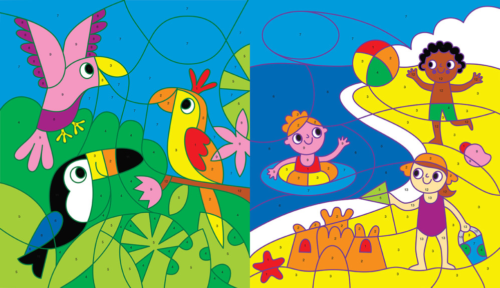 Colour by Numbers - Parrots and Beach Fun