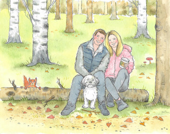 young couple with dog in woods