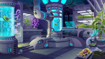 """FIRST PRIZE"". Laboratory design contest-for video game- Estacion Pi"