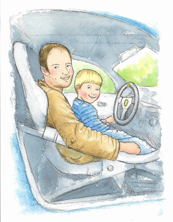 Dad and son in car