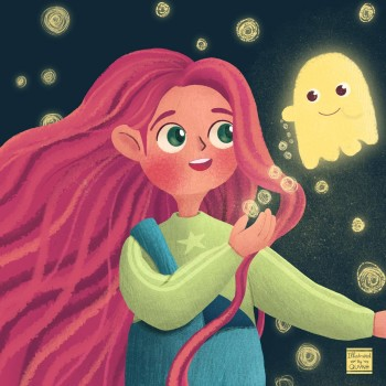 Little Girl and Her Ghost Friend