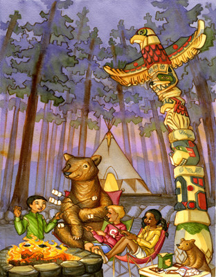 Campfire by the Totem pole