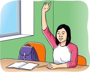 Asian female student in class