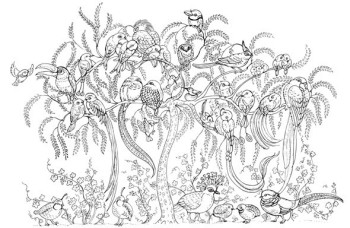 black and white illustration of:'The tree of birds