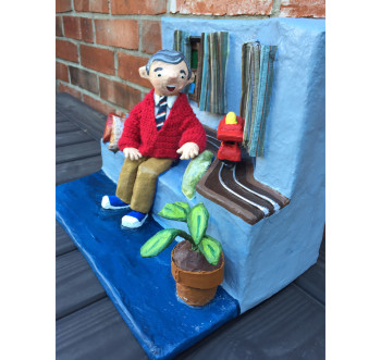 Side View - Paper Mache Mister Rogers