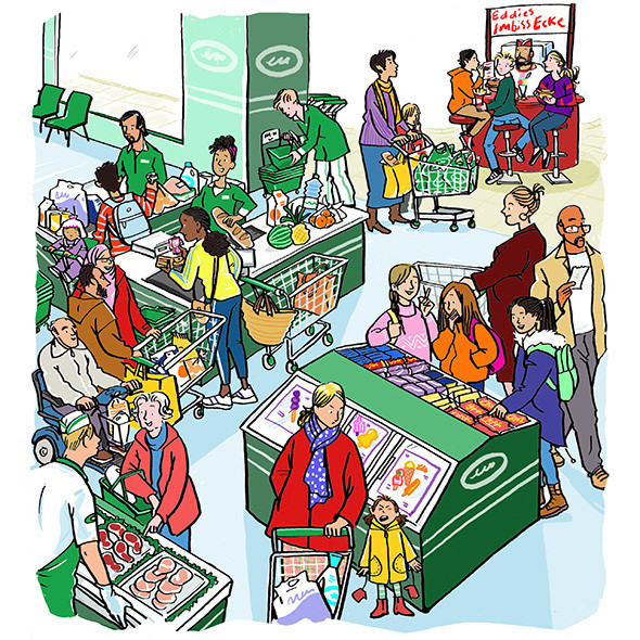 Supermarket scene,  from Abentuerland publ. by Educational Co. Ireland