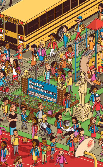 Where's Waldo style American School Bus Puzzle (detail)