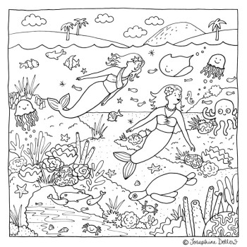 Under the Sea Mermaids - Colouring In
