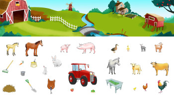 Farm animals for a sticker game