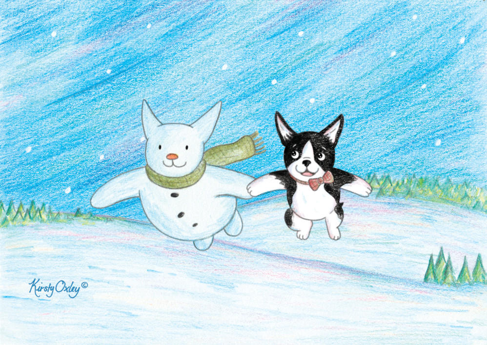 Boston Terrier and The Snowman