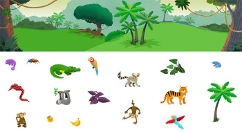 Jungle animals for a sticker game