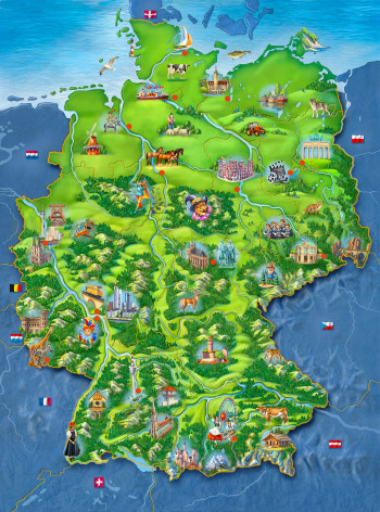 Interactive puzzle game, Map of Germany