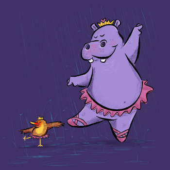 Hippo and Oxpecker Bird Ballet