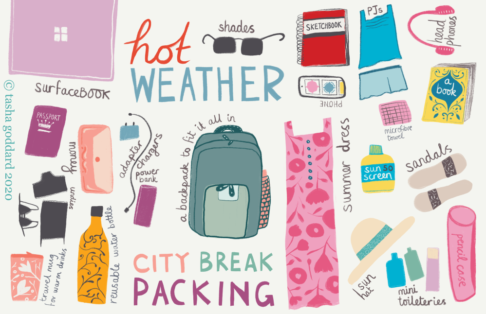 Illustrated city break packing list