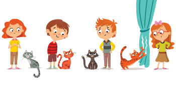 Kids and their cats