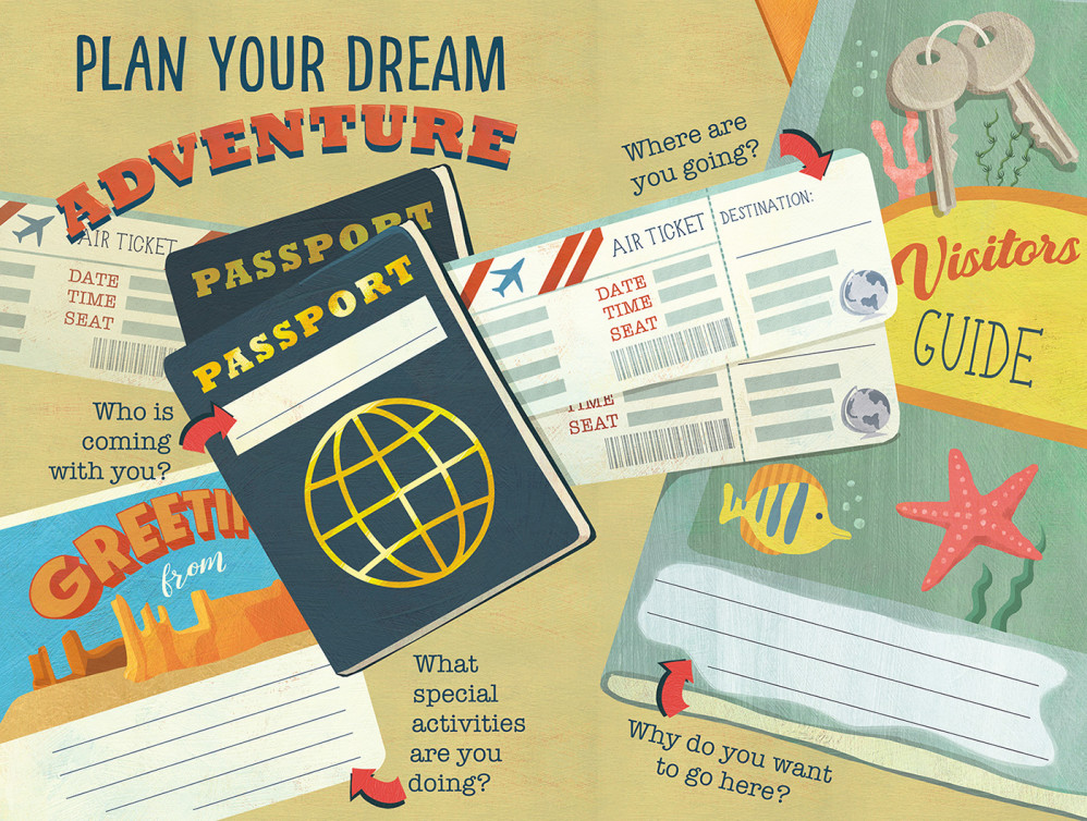 Activity page about travel from creative writing journal for Children's Healthcare of Atlanta