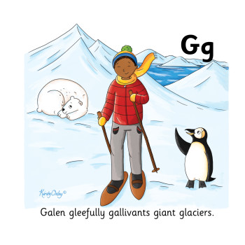 Galen gleefully galivants giant glaciers