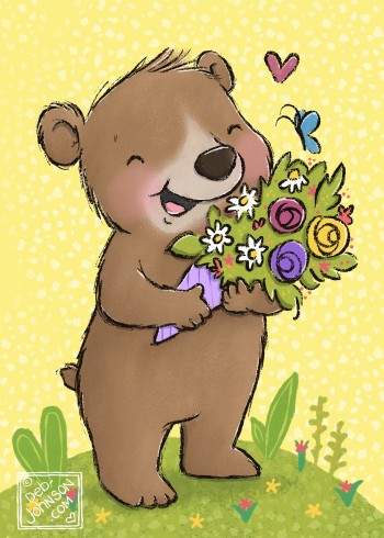 Beary Good Day for Flowers