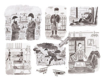 The Secret Diary - black and white illustrations