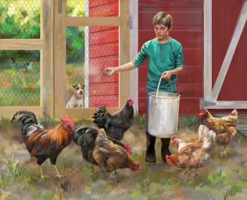 James feeding The Chickens