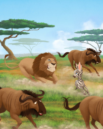 Chased by lion