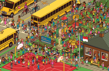 Where's Wally style American School Bus Puzzle large scene