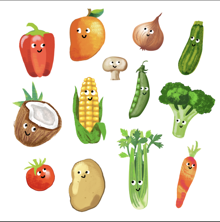 Fruit and Veggies from a recent project.