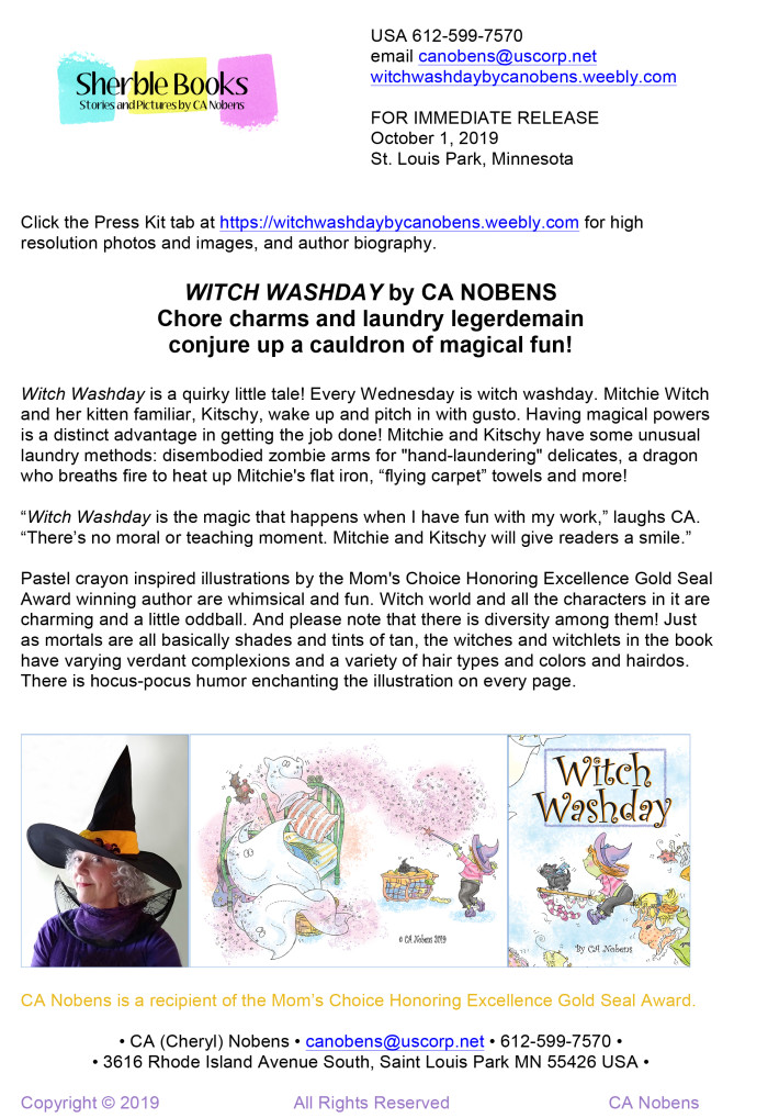 Press Release: Witch Washday by CA Nobens