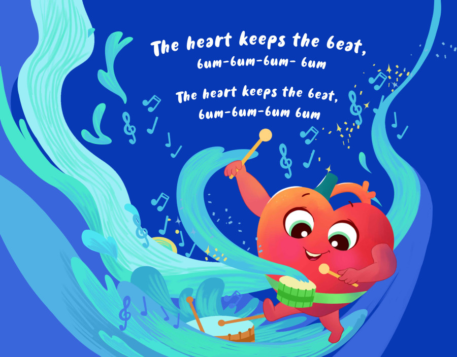"""Children's Board Book """"The heart Keeps the beat"""""""