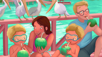 """Drinking coconut water"" Children's Book Illustrator"