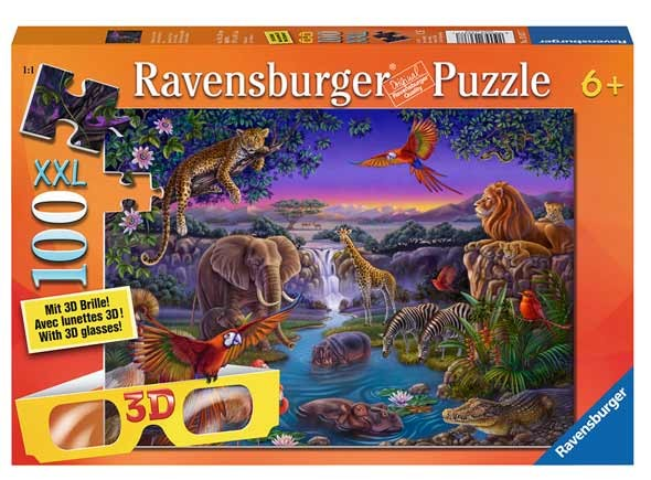 3D Puzzle - African Animals at the Water Hole