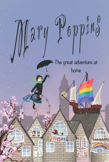 Mary Poppins cover design and doble spreads design for a quarantine-inspired version of Mary Poppins: my entry into the fantastic brief set by Plum Agency for Plum Awards 2020